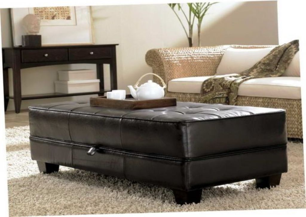 Picture of: Leather Ottoman Coffee Table With Shelf