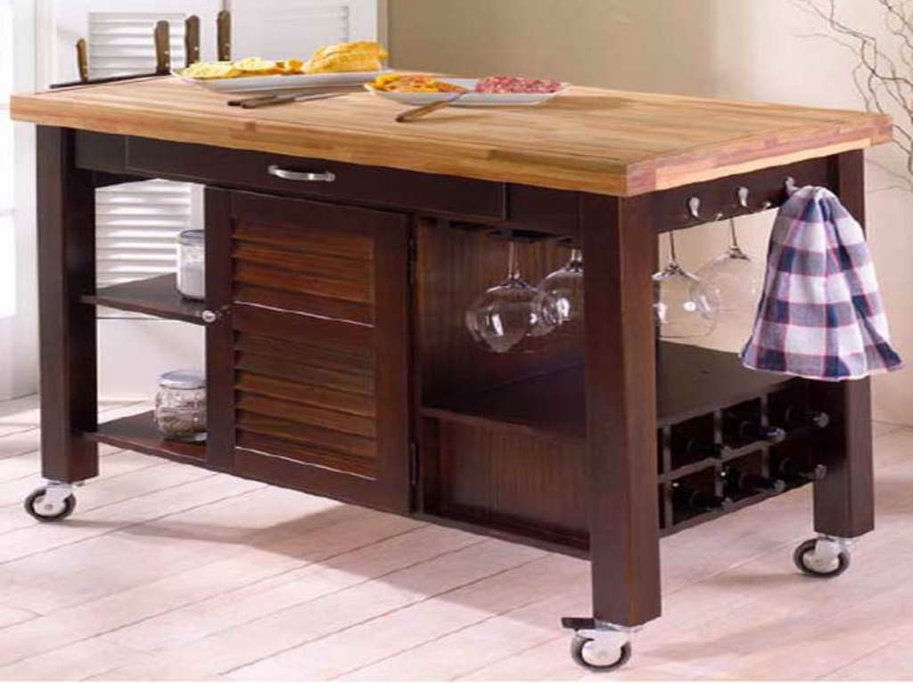 Picture of: Butcher Block Table On Wheels