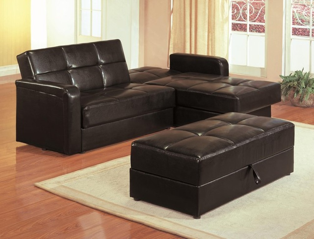 Picture of: Leather Sofa Sleeper With Storage