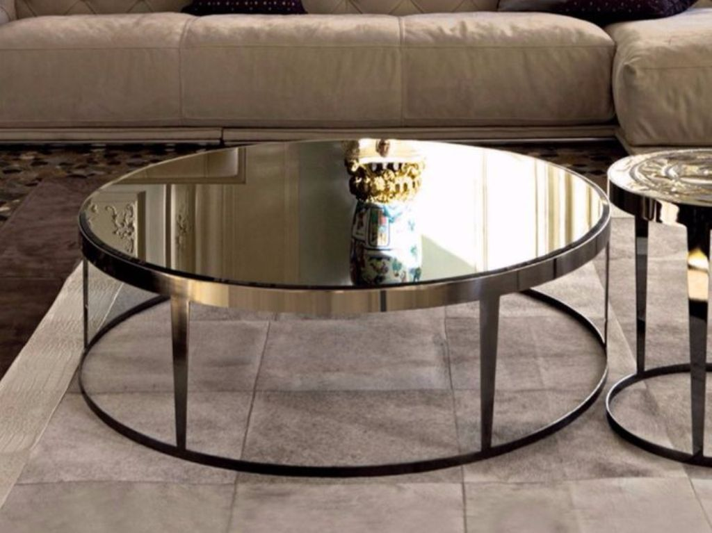Image of: Mirror Coffee Table Round