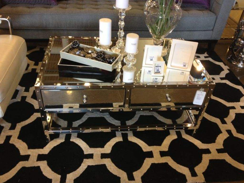 Image of: Mirror Coffee Table With Drawers