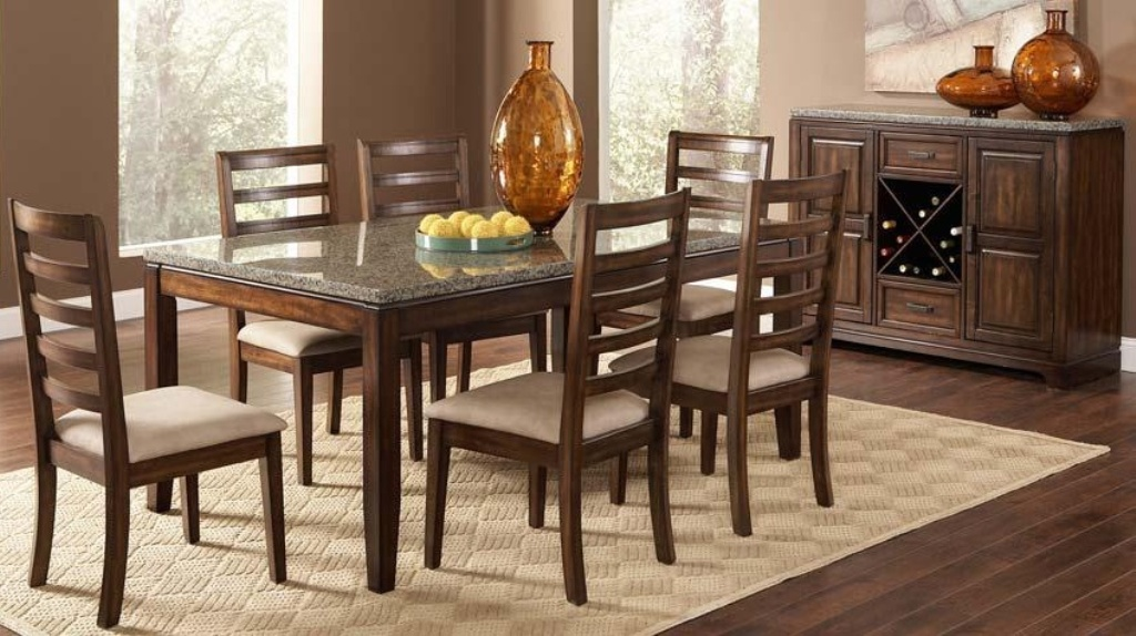 Picture of: Black Granite Dining Table Set
