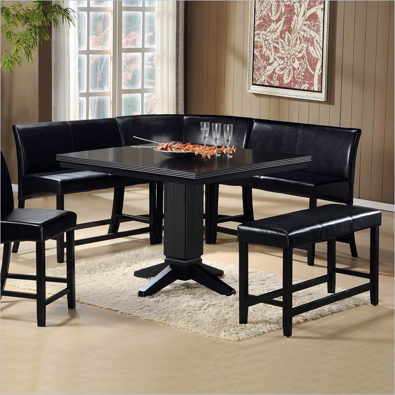 Image of: Black Nook Dining Table Set