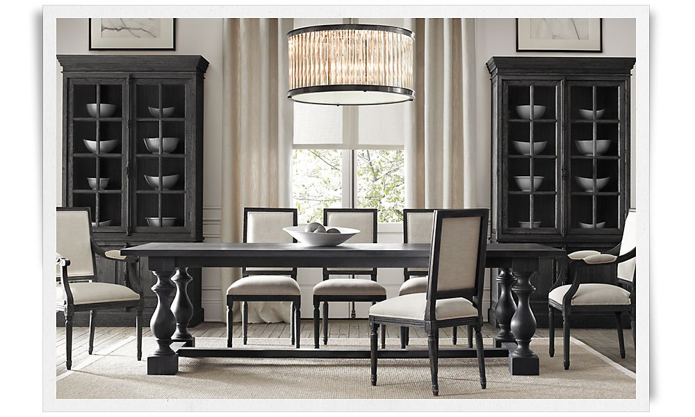 Picture of: Black Restoration Hardware Dining Room Table