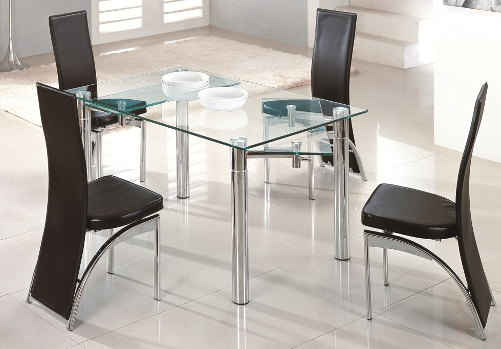 Image of: Extendable Dining Table Set Glass
