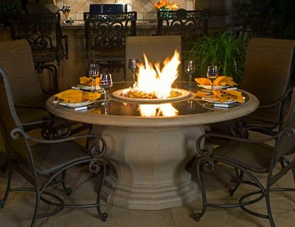Image of: Fire Pit Dining Table Plan