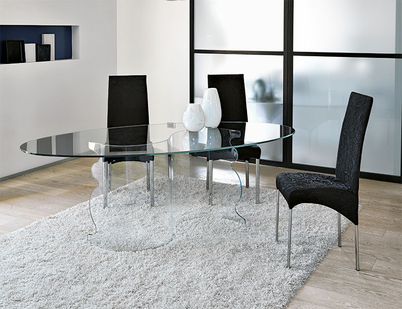 Image of: Glass Oval Dining Room Table