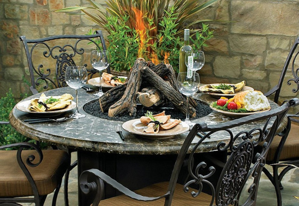 Image of: Modern Fire Pit Dining Table Propane