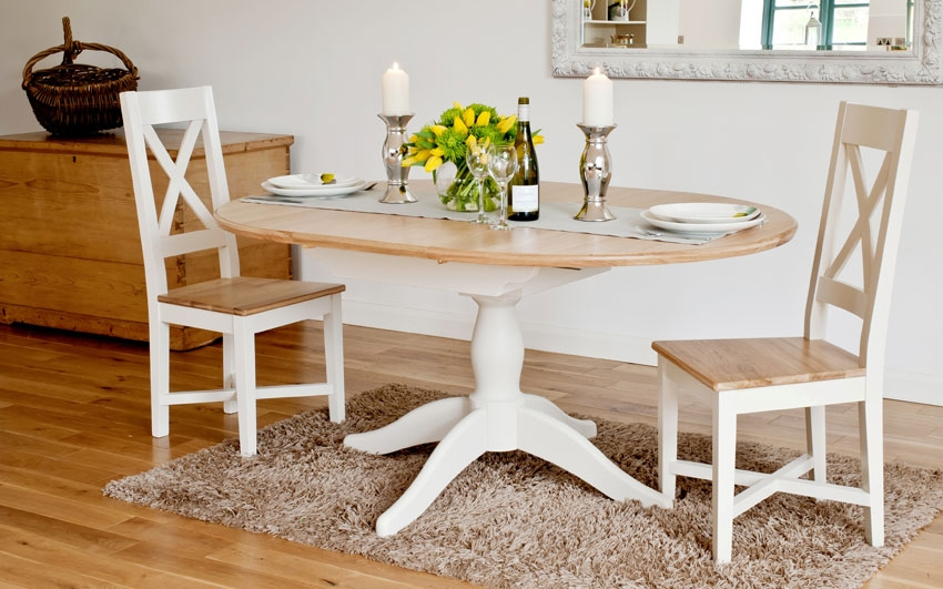 Image of: Oval Extendable Dining Table Set