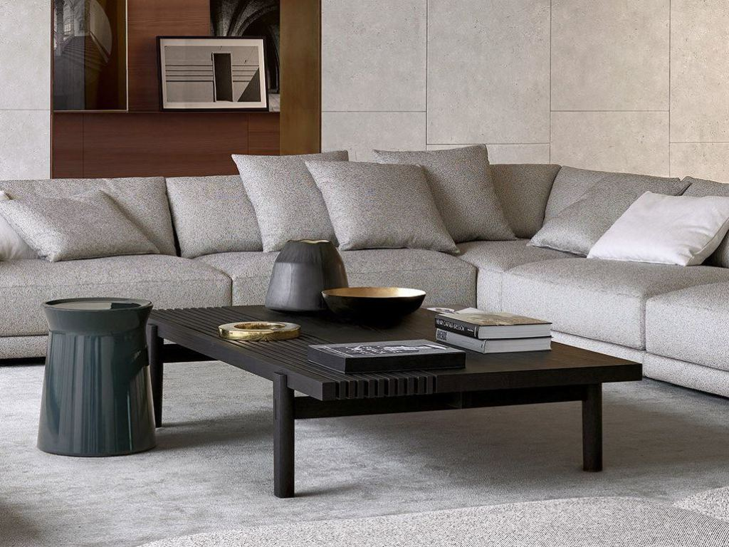 Rectangular Coffee Table With Ottoman Underneath