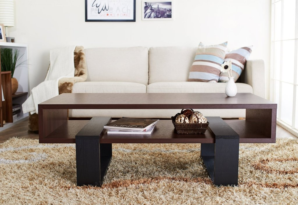 Picture of: rectangular coffee table with shelf