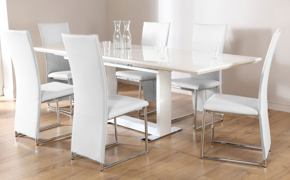Image of: White Extendable Dining Table Set