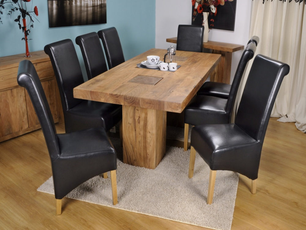 Image of: Acacia Wood Dining Table Set