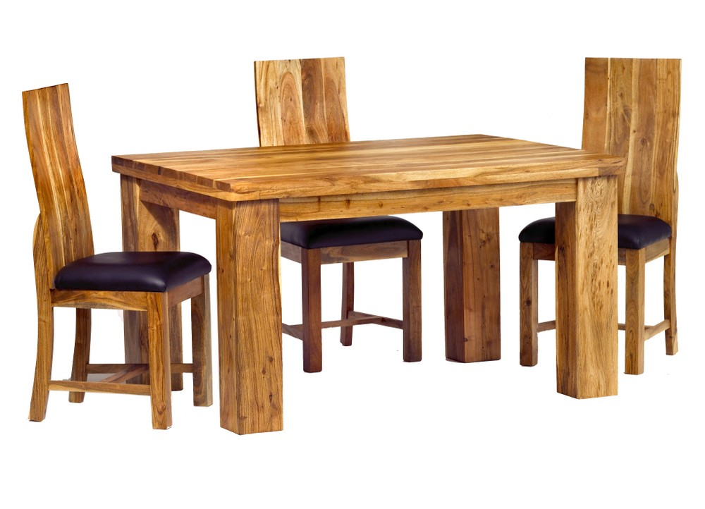 Image of: Acacia Wood Dining Table and Chairs