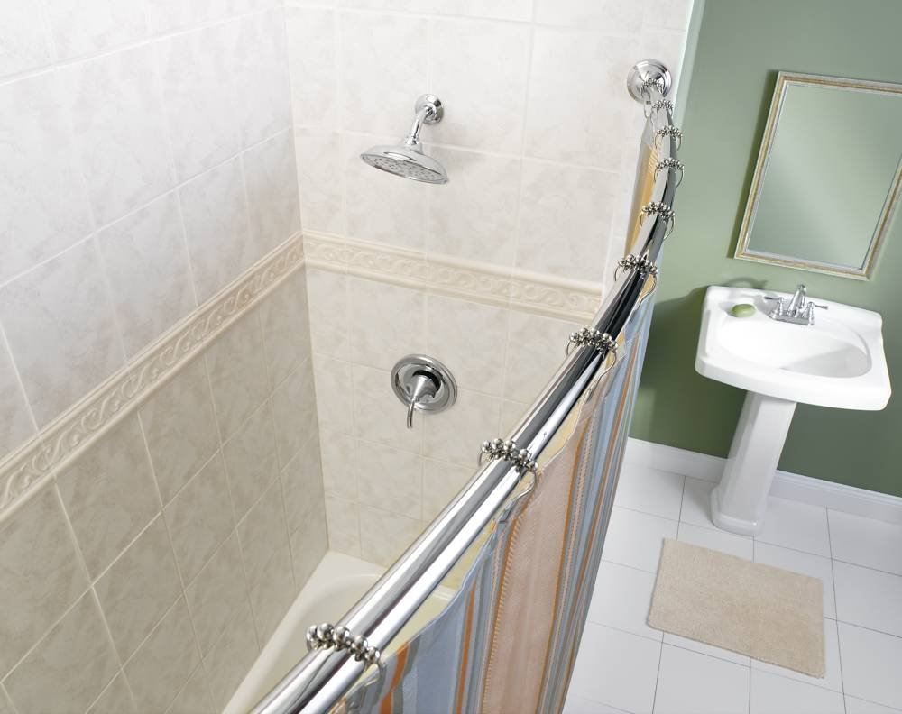 Image of: adjustable shower curtain rod design