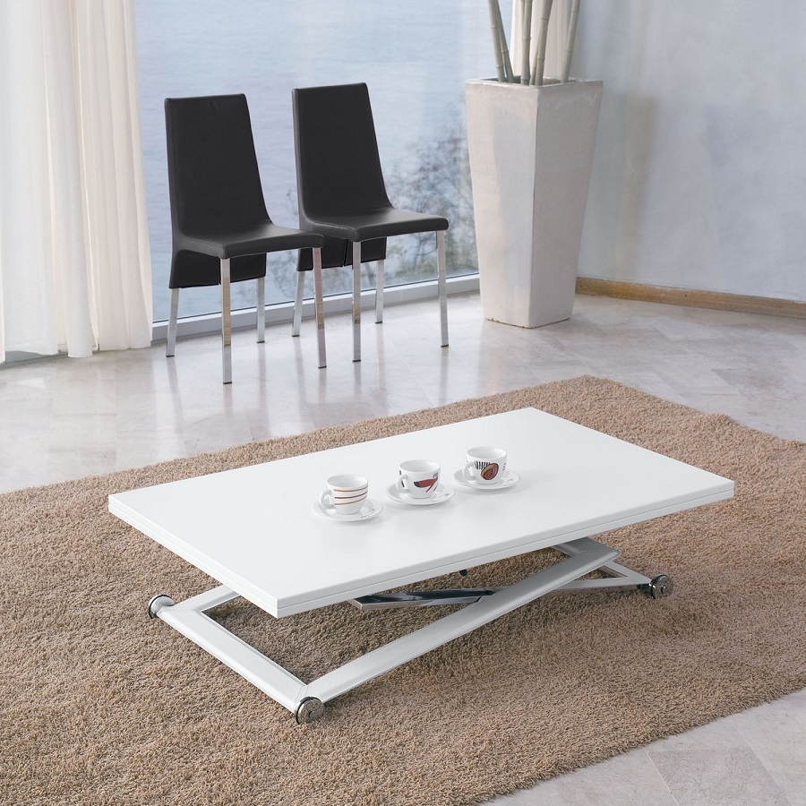 Image of: Amazing White Lacquer Coffee Table