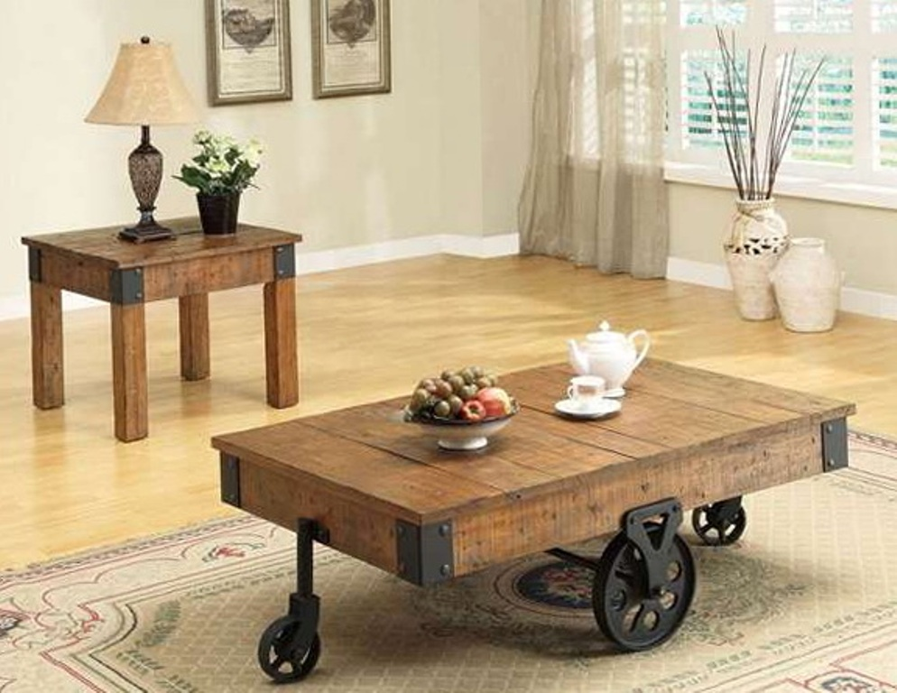 Image of: Antique Coffee Table Wheels