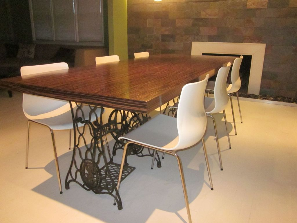 Image of: Antique Wood Slab Dining Table