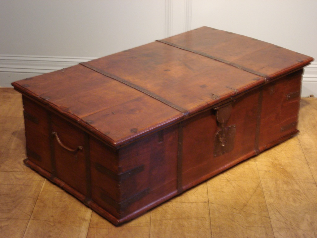 Picture of: Antique Wood Trunk Coffee Table