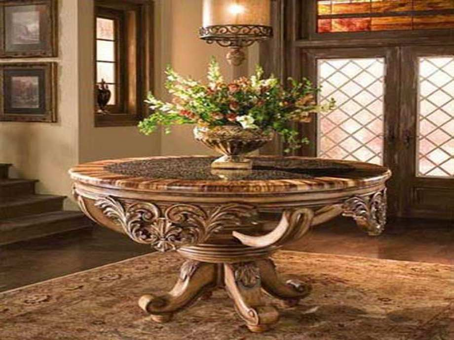 Picture of: Antique round foyer table