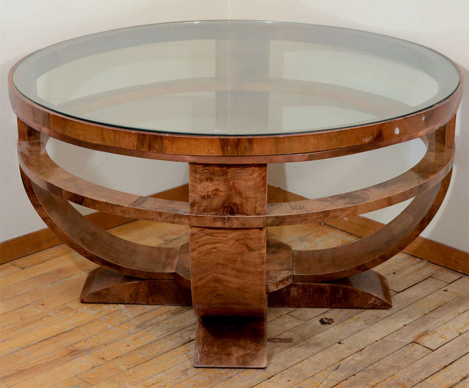 Picture of: Art Deco Coffee Table Round Glass Top