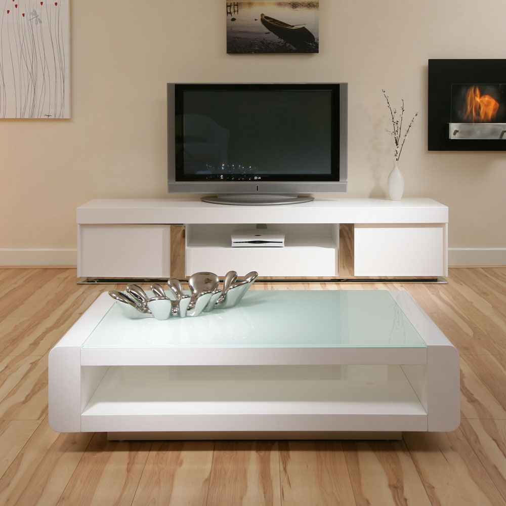 Picture of: Awesome White Lacquer Coffee Table