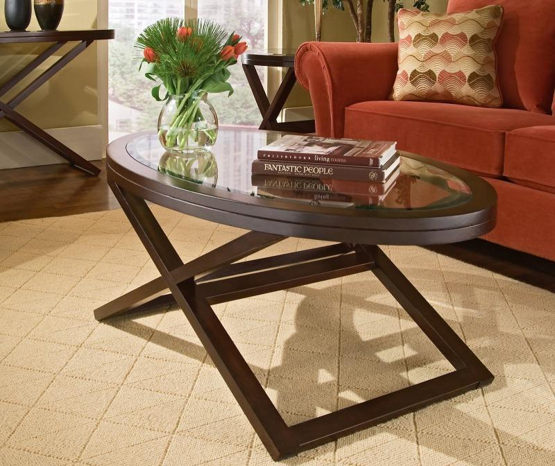 Image of: Beautiful Oval Glass Top Coffee Table