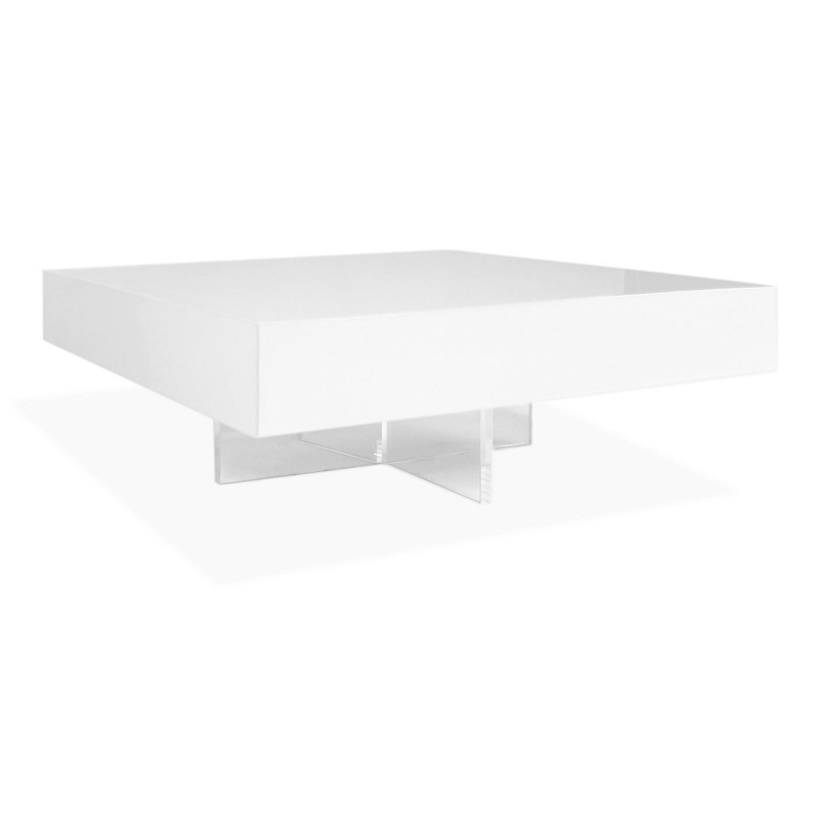 Image of: Beauty White Lacquer Coffee Table