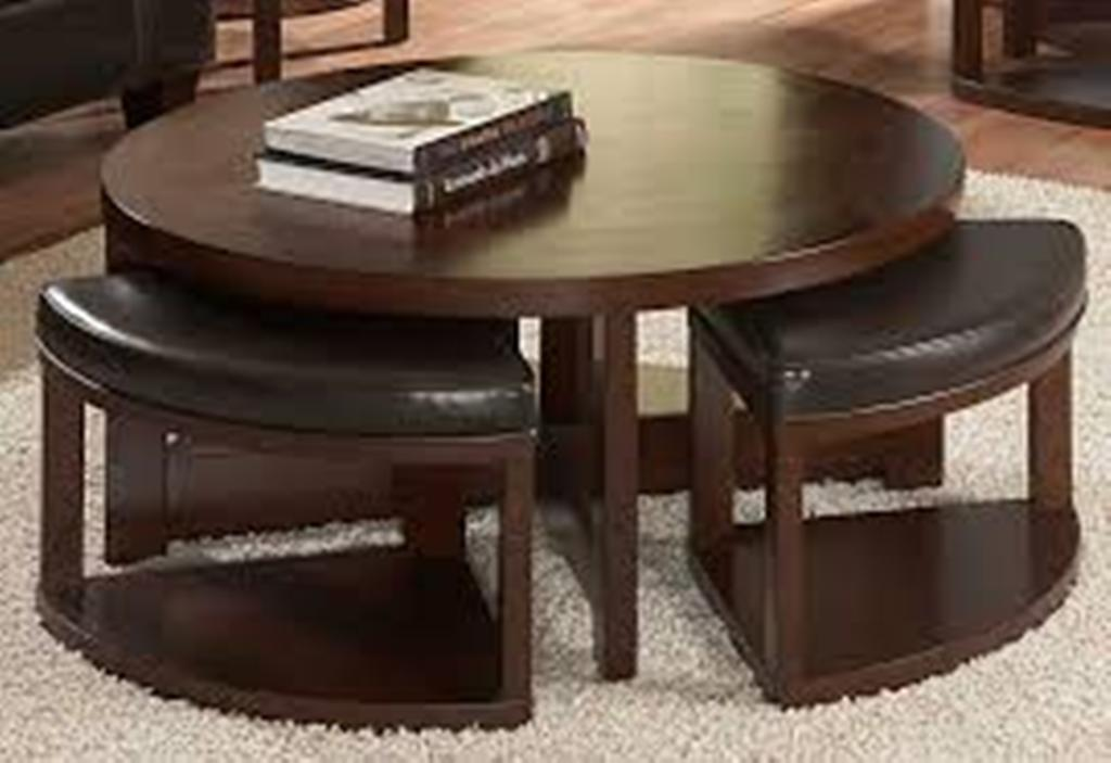 Picture of: Black Leather Round Coffee Table Ottoman