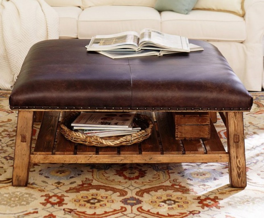 Image of: Black Round Coffee Tables Ottoman Leather