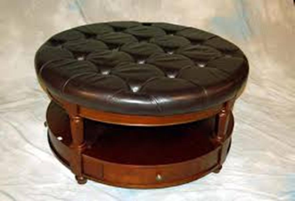 Picture of: Black Round Coffee Table Ottoman