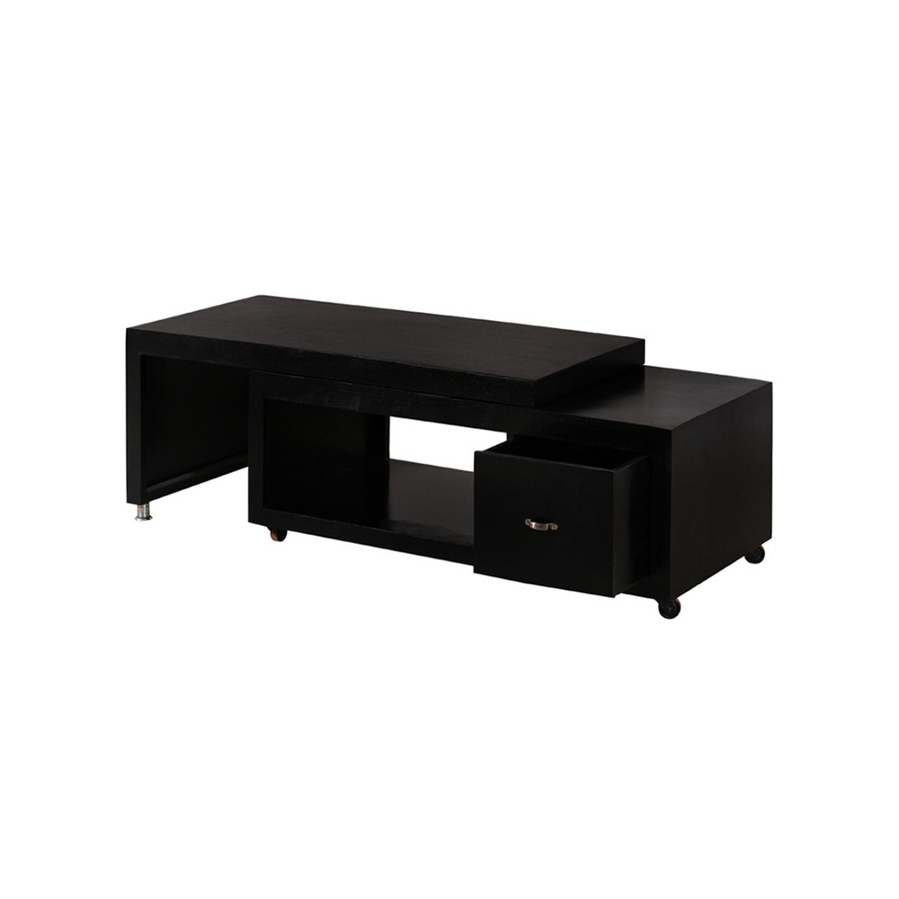 Picture of: Black Solid Wood Coffee Table