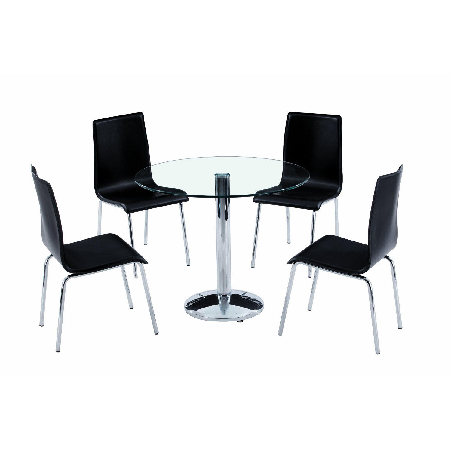 Picture of: Black glass table and chairs