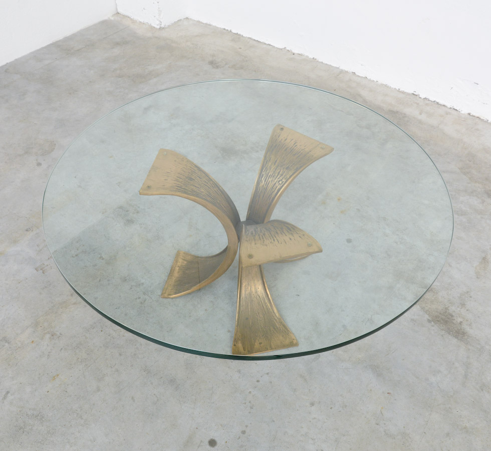 Image of: Bronze Coffee Table Circle Glass