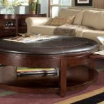 Brown Leather Round Coffee Table Ottoman