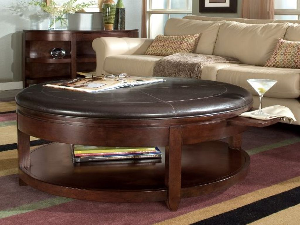 Image of: Brown Leather Round Coffee Table Ottoman