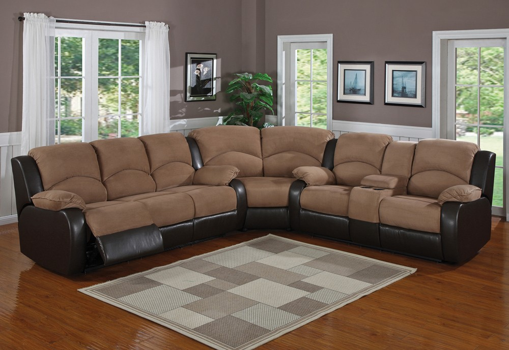 Image of: Brown Microfiber Sectional Sofa