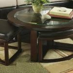 Brown Round Coffee Table Ottoman
