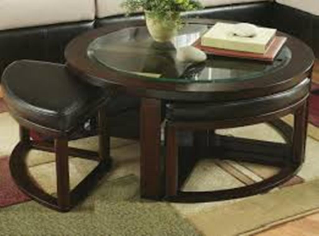 Image of: Brown Round Coffee Table Ottoman