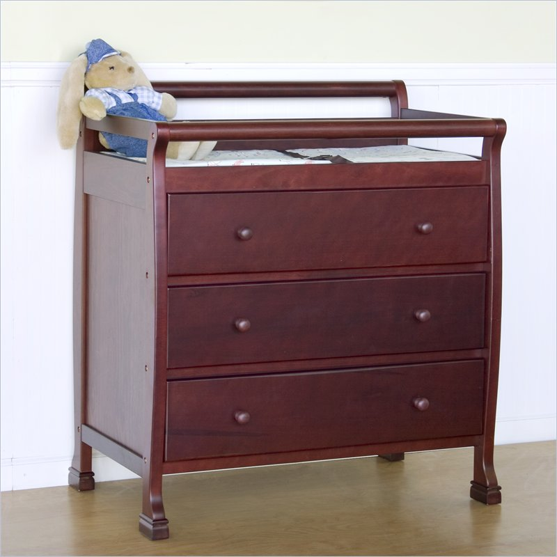 Image of: Cherry Wood Changing Table Crib Set