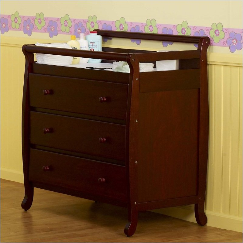 Image of: Cherry Wood Changing Table Furniture