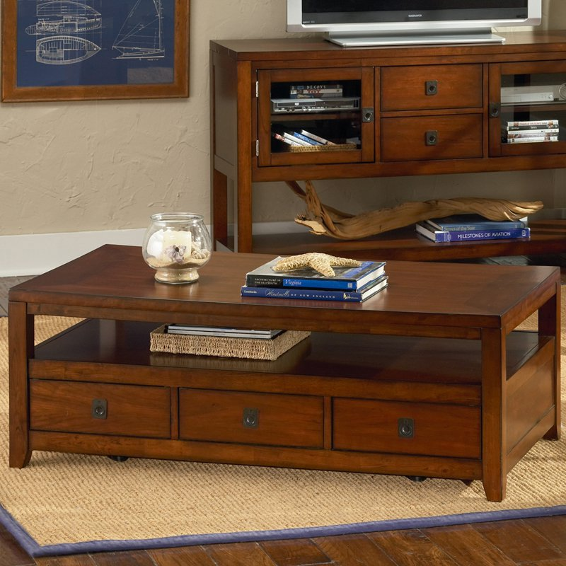 Image of: Cherry Wood Coffee Table Brown