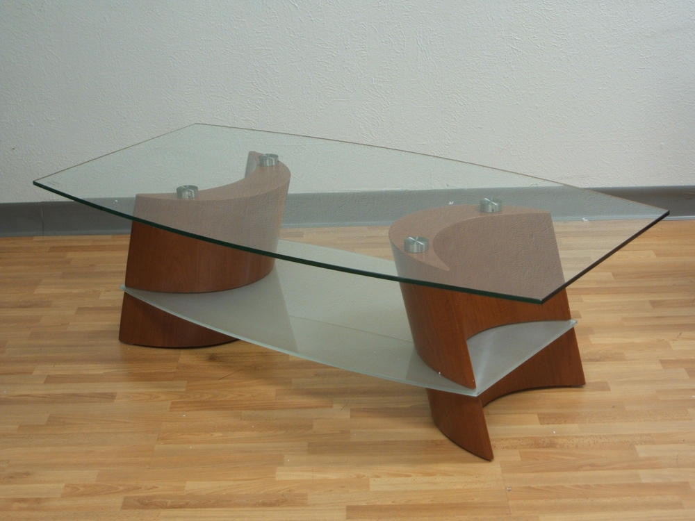 Picture of: Cherry Wood Coffee Table Glass Top