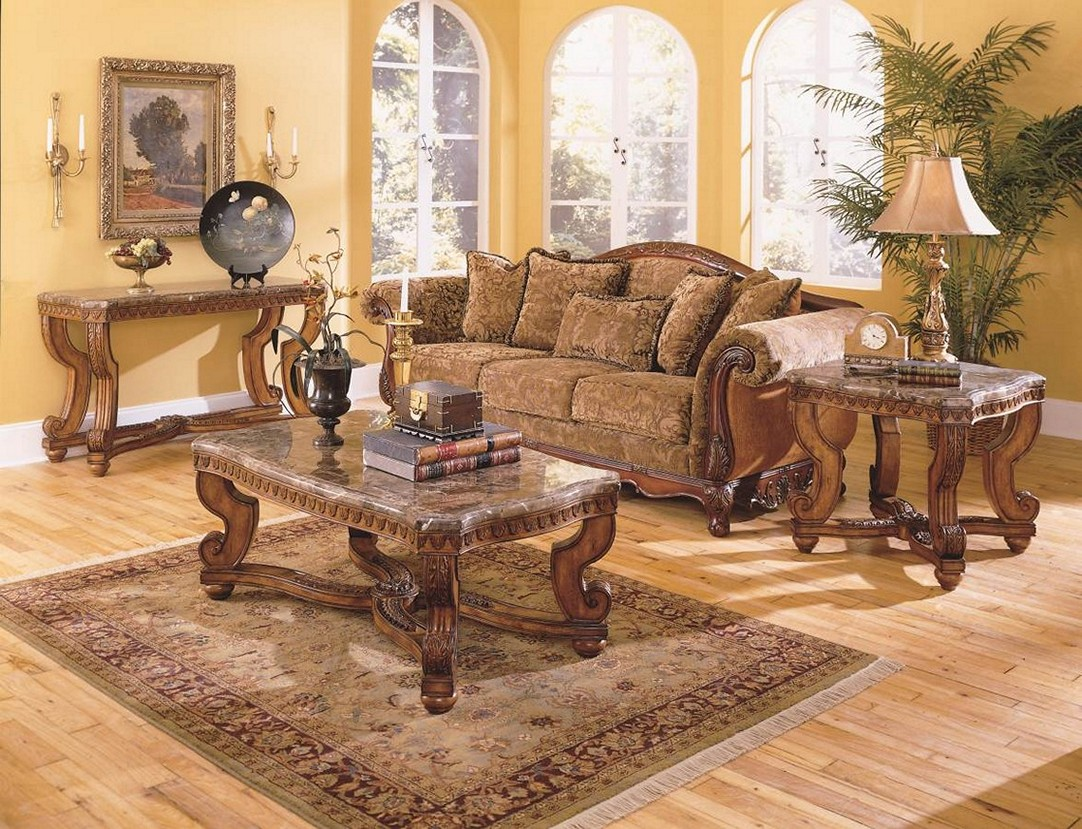Image of: Cherry Wood Coffee Table Living Room Sets