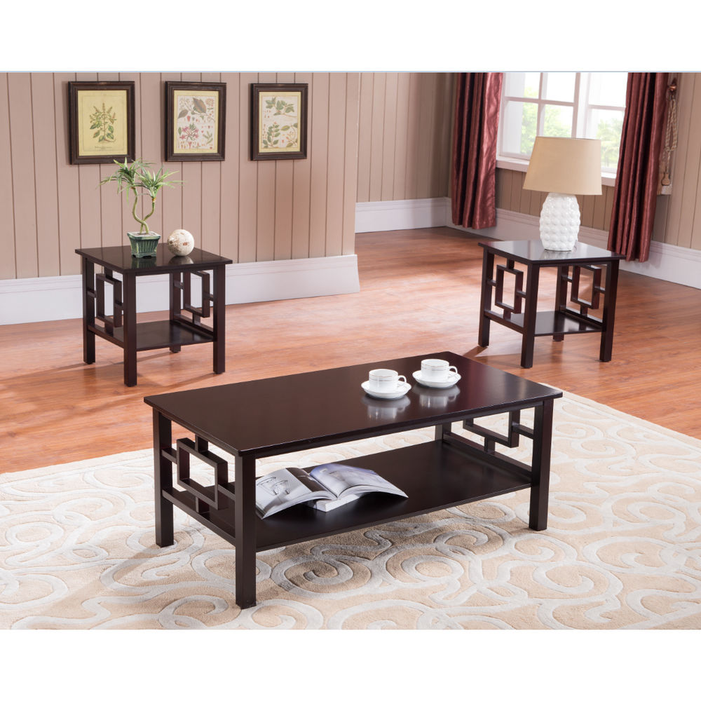 Image of: Cherry Wood Coffee Table Sets