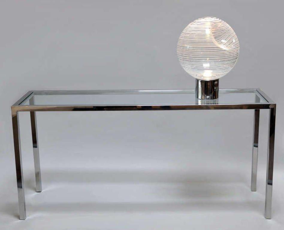 Picture of: Chrome and Glass Console Table