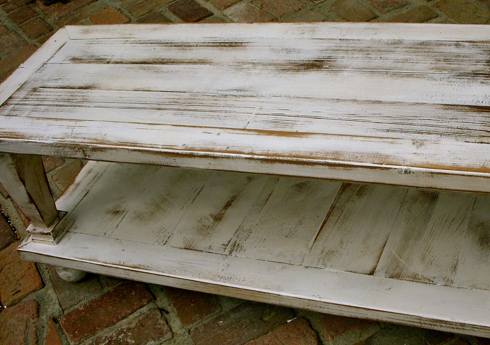 Image of: Classic Distressed White Coffee Table