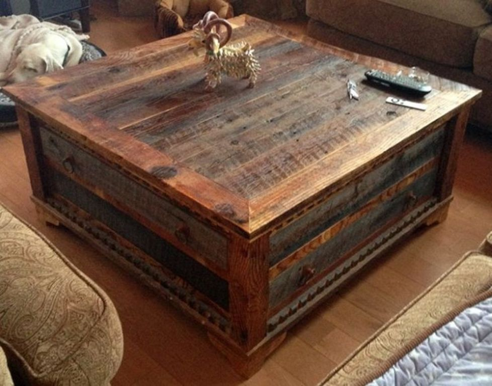 Image of: coffee table reclaimed wood top