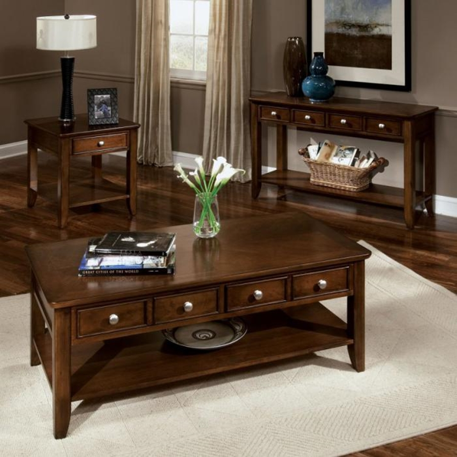 Coffee Table With Drawers Dark Wood