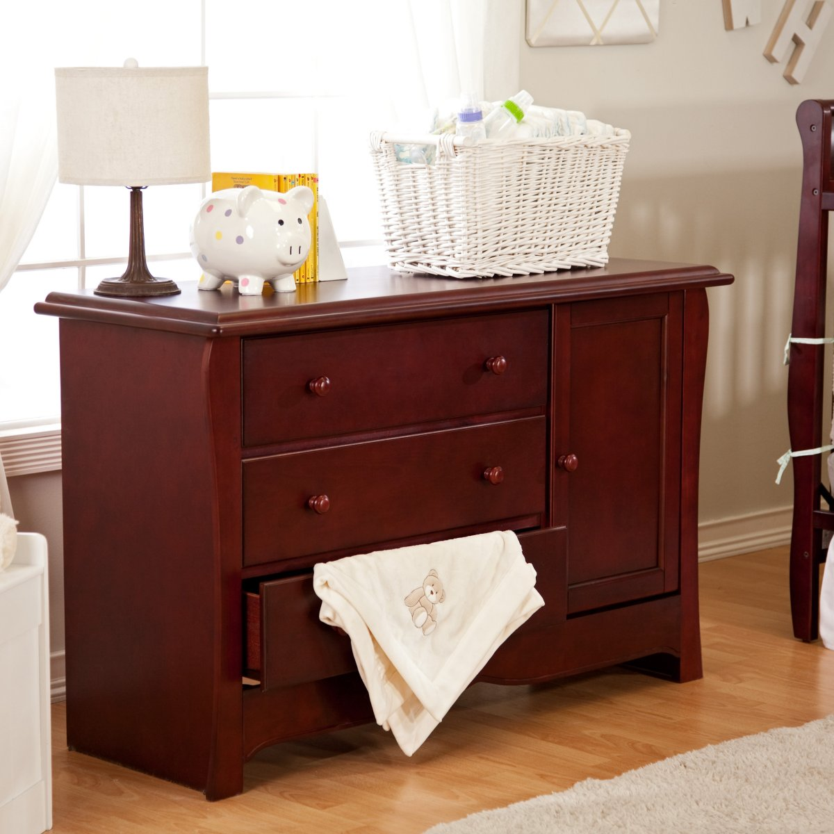 Image of: Combo Cherry Wood Changing Table